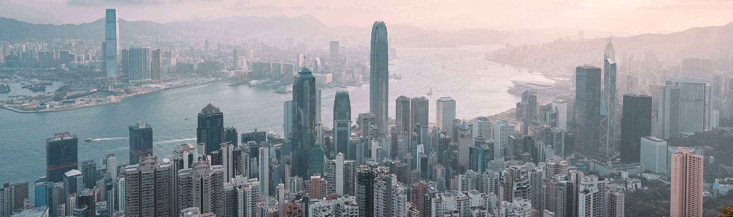 City skyline in darker color tones
