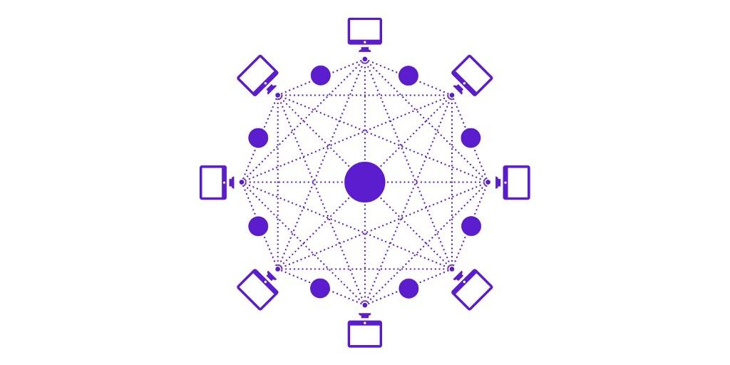 blockchain icon purple graph