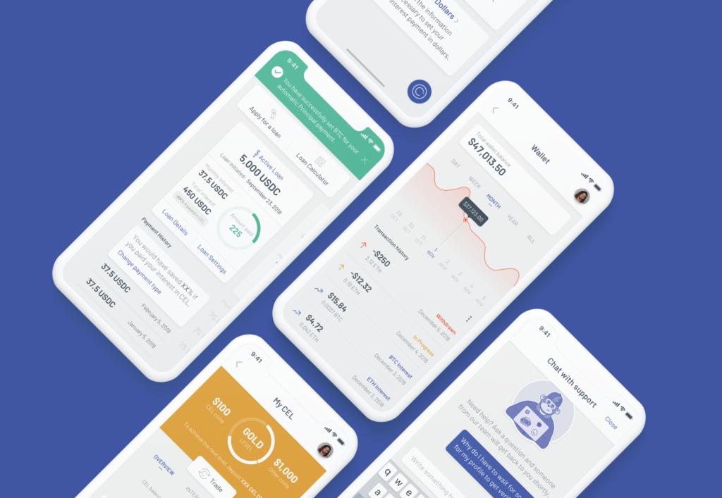 Celsius Network app mockup phone